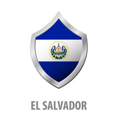 El salvador flag on metal shiny shield vector
