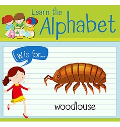 Flashcard letter w is for woodlouse vector