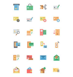 Flat Card Payment Icons 2 vector