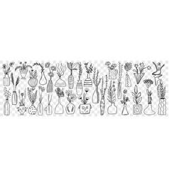 flowers in pots doodle set vector image