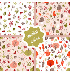 forest seamless pattern set vector image
