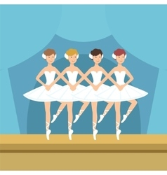 Four Ballerinas Little Swans Dance Performance vector image
