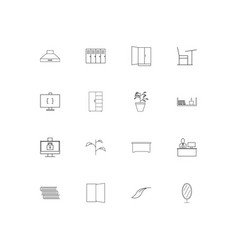 Furniture simple linear icons set outlined icons vector