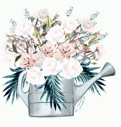 garden watering can with white roses and palm vector image