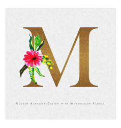 Golden letter m watercolor floral background vector