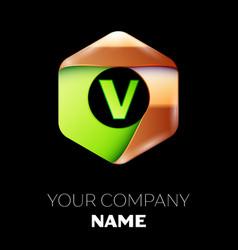 green letter v logo in the golden-green hexagonal vector image