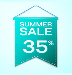 Green pennant with summer sale thirty five vector