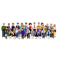 Group pupils with parents and teachers vector