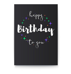 Happy birthday to you handwritten lettering on vector