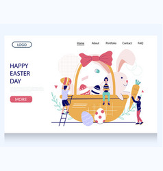 happy easter day website landing page vector image