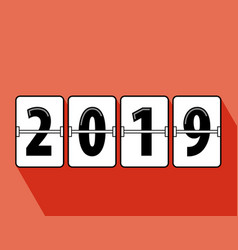 happy new year 2019 flip clock style vector image