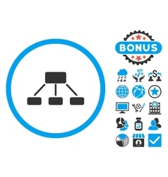 Hierarchy Flat Icon with Bonus vector image