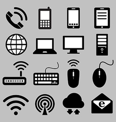 Icon set mobile devices computer and network vector