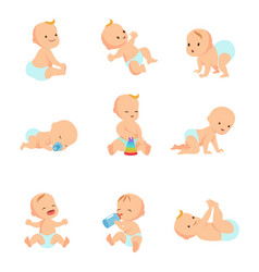 Infant baby characters newborn in vector