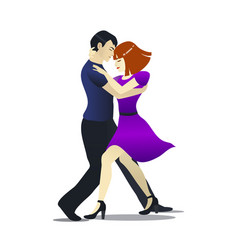 Isolated bachata dancers in cartoon style vector
