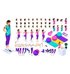 isometrics create your athlete large set emotions vector image