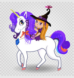 Kawaii baby witch girl riding beautiful magical vector