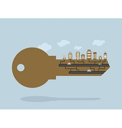Key And buildings key to city Door lock key with vector