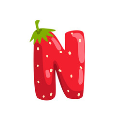 Letter n english alphabet made from ripe fresh vector