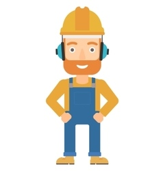 Man wearing hard hat and headphones vector