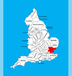 Map essex in east england united kingdom vector