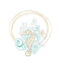 marine wreath seashell seahorse gold line art vector image