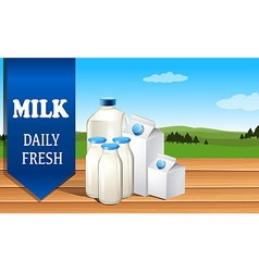 Milk advertisement with text vector image