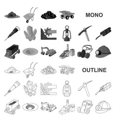 Mining industry monochrom icons in set collection vector