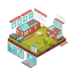 Mobile house isometric concept vector