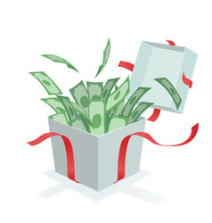 Money coming out of the gift box vector