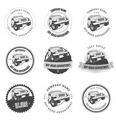 Monochrome off-road adventures labels and badges vector image