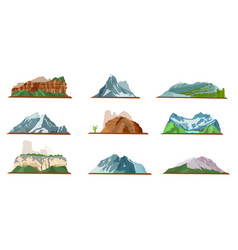 Mountain icons set various types of pile hills vector