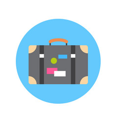 Old suitcase with stickers icon travel baggage vector