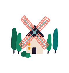 Old windmill among trees holland farm tower vector