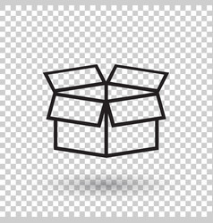 Open box icon shipping pack flat on isolated vector
