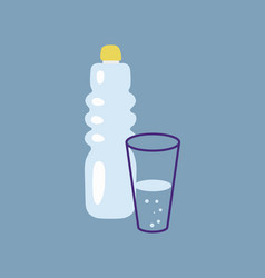 Outline bottle water icon vector