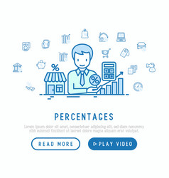 percentages concept manager gives credit vector image