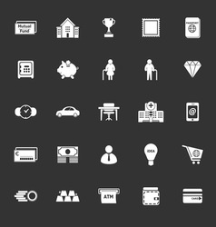 Personal financial icons on gray background vector image