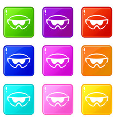 Safety glasses icons 9 set vector