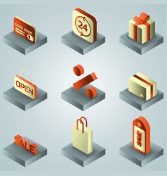 sale color gradient isometric icons vector image