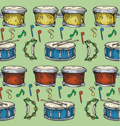seamless pattern drums bongos and tambourines vector image