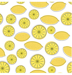 seamless pattern of yellow cartoon lemon vector image