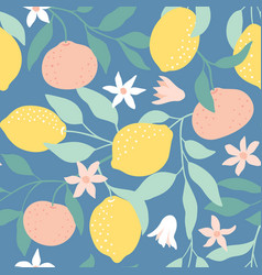 seamless pattern with citrus fruits flowers vector image