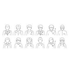 set black and white line drawn doctor icons vector image