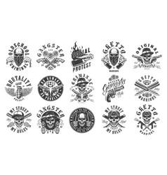 Set gangster emblems vector