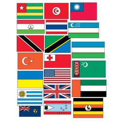 Set of 20 flags countries started with T and U vector