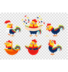 set of 6 bright-colored roosters symbol of vector image