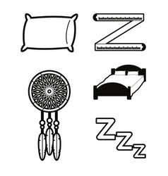 Set of sleep time concept icons vector