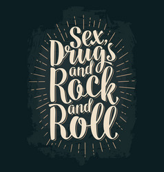Sex and rock and roll lettering with rays vector