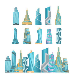 skyscraper buildings modern building flat office vector image